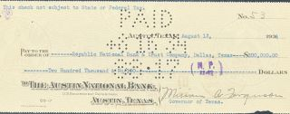 CANCELED CHECK, SIGNED BY MIRIAM A. FERGUSON, GOVERNOR OF TEXAS, AUGUST 13, 1934