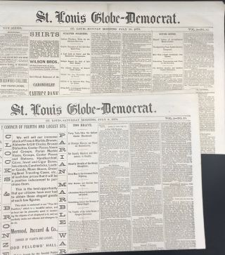 ST. LOUIS GLOBE-DEMOCRAT REPORTS ON THE ANNIHILATION OF GENERAL GEORGE ARMSTRONG CUSTER AND HIS...