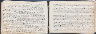 MANUSCRIPT HYMNS, SECULAR, AND PATRIOTIC MUSIC FOR THE UNIVERSAL CHURCH, BOUND INTO FIVE VOLUMES, EACH WITH A HANDWRITTEN INDEX.
