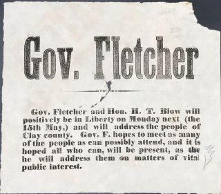 GOV. FLETCHER. Gov. Fletcher and Hon. H.T. Blow will positively be in Liberty on Monday next (the...