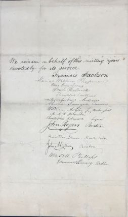 """AT A FULL MEETING OF SOME OF THE WARMEST ADVOCATES OF THE ANTI-SLAVERY CAUSE IN BOSTON & THE ADJACENT TOWNS, WHO ARE AT THE SAME TIME MEMBERS & FRIENDS OF THE MASSACHUSETTS & THE AMERICAN ANTI-SLAVERY SOCIETIES.... [followed by an appeal letter addressed to """"Dear Friend"""" soliciting new subscriptions for William Lloyd Garrison's publication """"The Liberator]"""