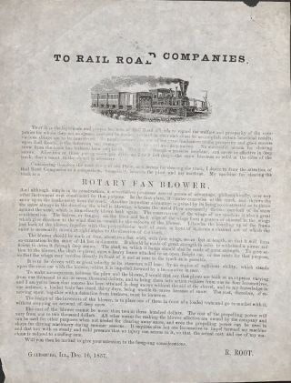TO RAIL ROAD COMPANIES. [caption title]. Root, iley