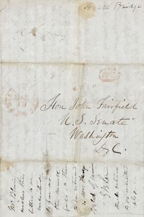 """REPORT FROM THE U.S. SHIP SARATOGA, """"AT SEA"""" PATROLLING THE AFRICAN COAST TO ENFORCE THE LAWS FOR THE SUPPRESSION OF THE SLAVE TRADE IN 1844. AUTOGRAPH LETTER, SIGNED FROM THE PURSER HORATIO BRIDGE TO HON. JOHN FAIRFIELD, U.S. SENATE, WASHINGTON, D.C."""