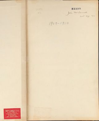 YALE UNIVERSITY BASE BALL ASSOCIATION ACCOUNT BOOK, with payments to Walter Camp, 1909-1910.