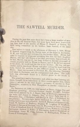 THE HISTORY OF THE MURDER OF HIRAM SAWTELL BY HIS BROTHER ISAAC SAWTELL. Illustrated. [Cover title]