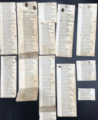"""PRINTED LYRICS FOR THOMAS DARTMOUTH RICE'S """"JUMP JIM CROW,"""" adapted from traditional """"plantation"""" music, cut into strips, evidence of old hand-stitching at left margins, once connected together to form a """"book,"""" and erratically numbered in ink on versos of the strips."""