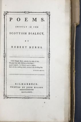 POEMS, CHIEFLY IN THE SCOTTISH DIALECT. 1786. Facsimile of the original Kilmarnock Edition....