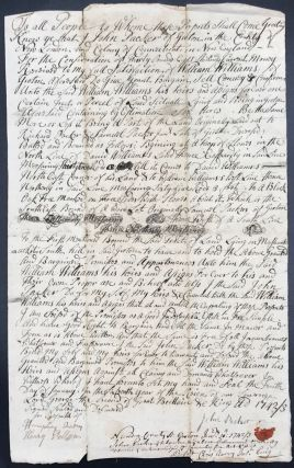 MANUSCRIPT DEED OF SALE FOR SIX ACRES IN GROTON, COUNTY OF NEW LONDON, COLONY OF CONNECTICUT,...