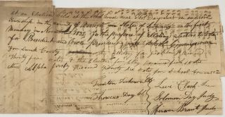 """MANUSCRIPT TALLY SHEET: """"At an Election held at the School House near Thos. Day Jr.'s, in Anderson Township in the County of Warrick, State of Indiana, on the first Monday in November 1832, for the purpose of Electing Electors to Vote for President and Vice President, School Commissioner for Warrick County...."""""""
