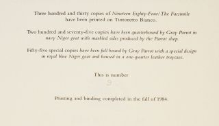 NINETEEN EIGHTY-FOUR: THE FACSIMILE OF THE EXTANT MANUSCRIPT. [Deluxe Issue]